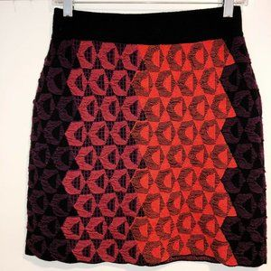 NWT Kerisma Wool Blend Red Black Geo Knit Skirt M